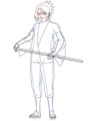 cara menggambar Sasuke Hebi tahap 16