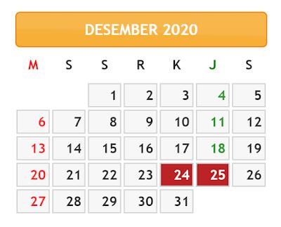 KALENDER BULAN DESEMBER TAHUN 2020