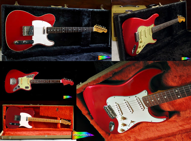 Fender guitars in Candy Apple Red