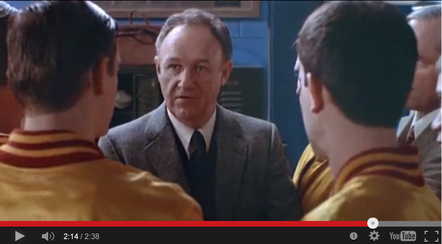 Image of Gene Hackman talking to his high school basketball players in the movie, Hoosiers