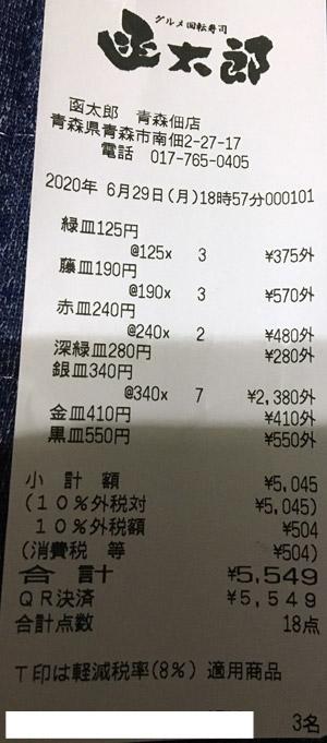 グルメ回転寿司 函太郎 青森佃店 2020/6/29 飲食のレシート