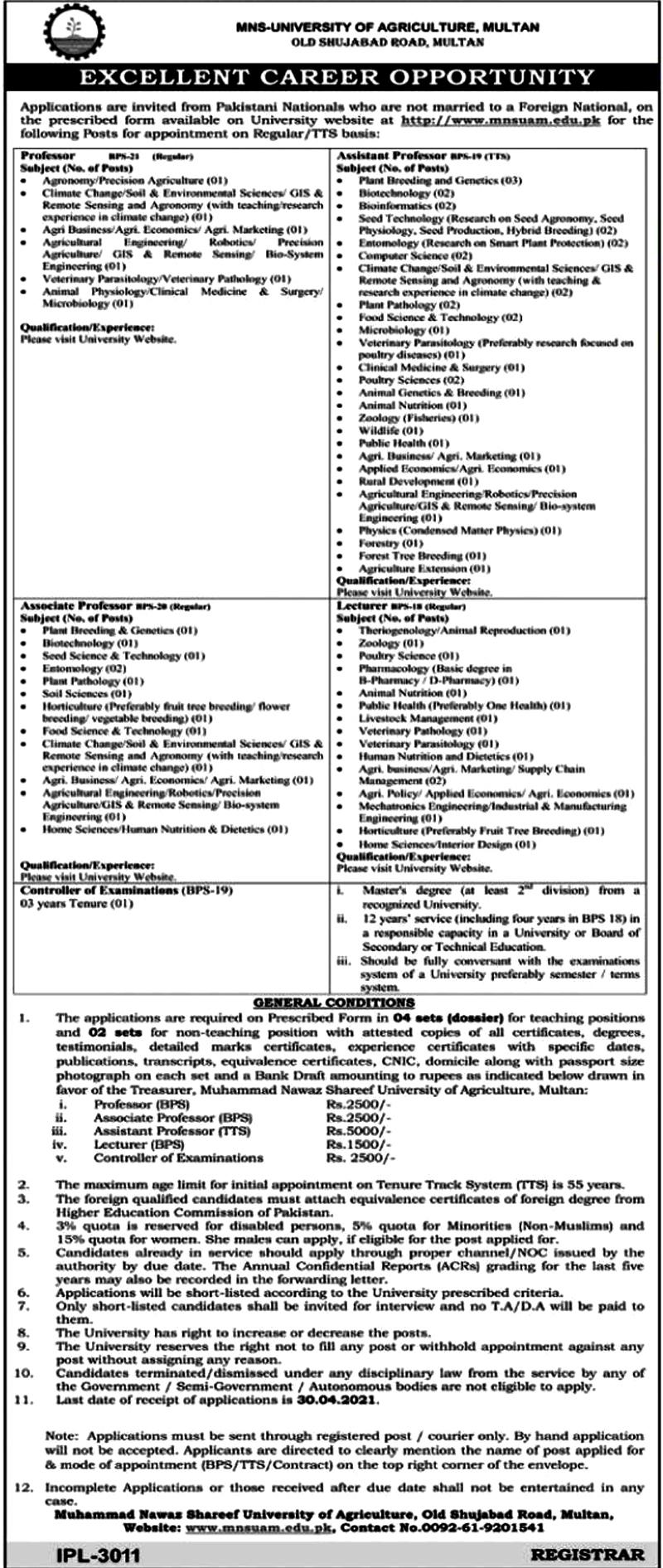Latest Jobs in Muhammad Nawaz Sharif University of Agriculture MNSUA 2021