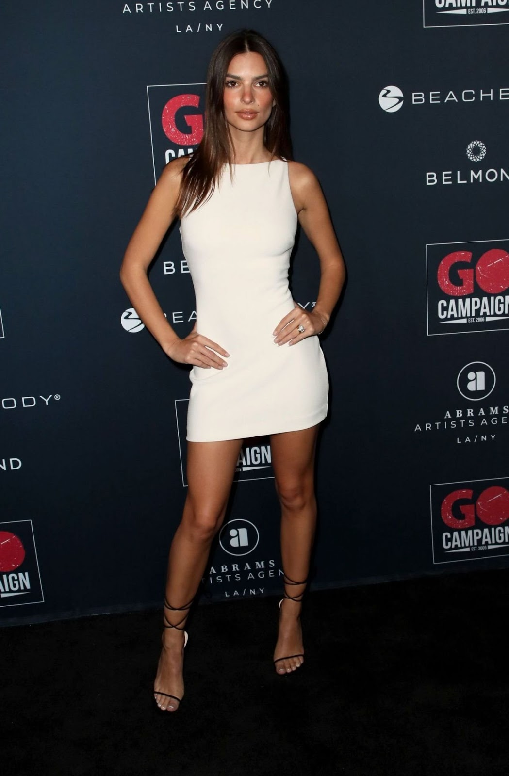 Emily Ratajkowski bares slim legs at the GO Campaign Gala in Hollywood