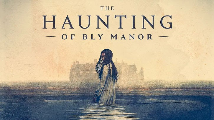 A young girl going into a lake turns around with the title The Haunting of Bly Manor above her