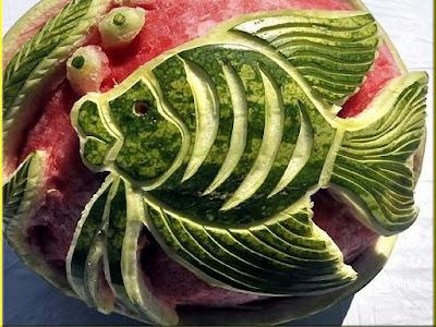 gold fish watermelon fruit arts