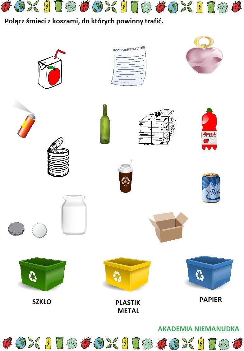 połącz śmieci z odpowiednim koszem na odpadki, segregacja śmieci