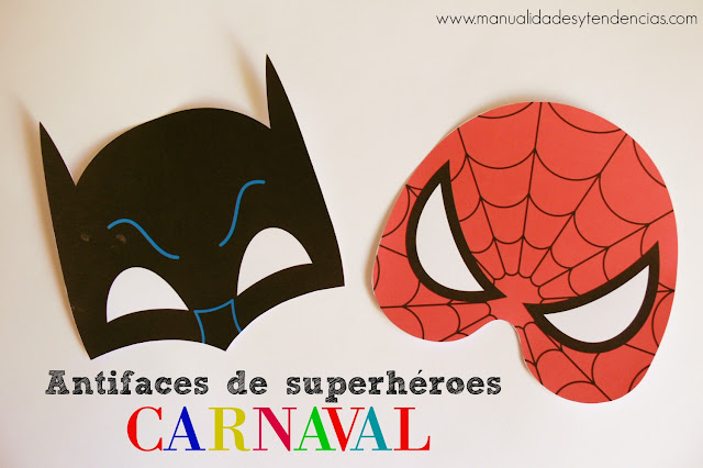 Antifaces de superhéroes imprimibles: Batman y Spiderman
