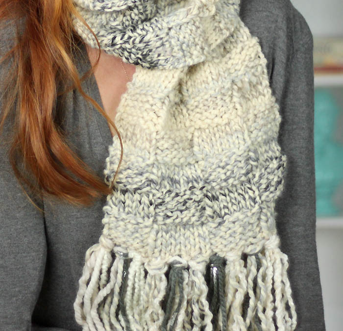 Basketweave Scarf Free Knitting Pattern - Gina Michele