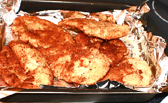these a chicken breaded called cutlets baked in a roasting pan