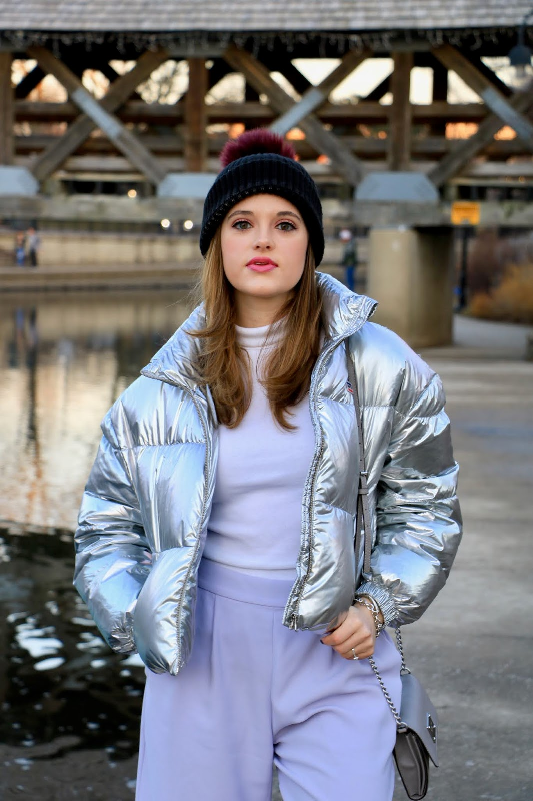 Nyc fashion blogger Kathleen Harper wearing a metallic cropped puffer coat.