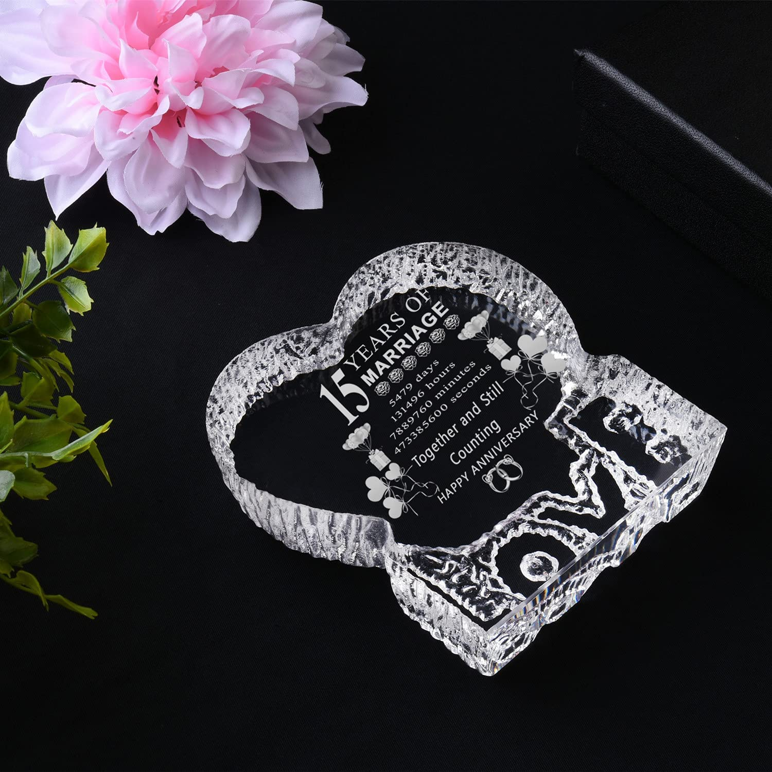 Crystal Heart Wedding Anniversary Gift For Parents