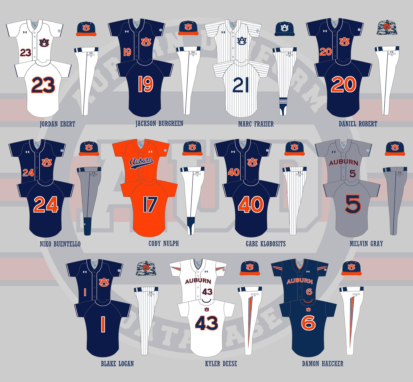 super popular 81330 ace4f Auburn Uniform Database: Baseball Uniforms