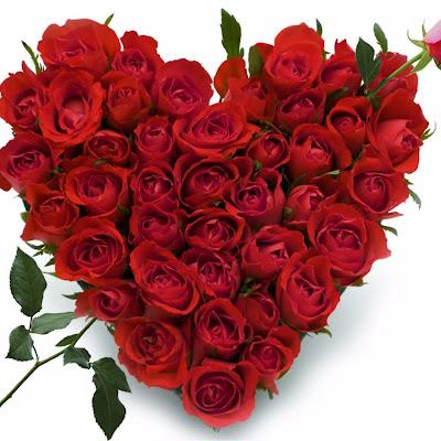 باقة ورد قلب حب جوري جميلة