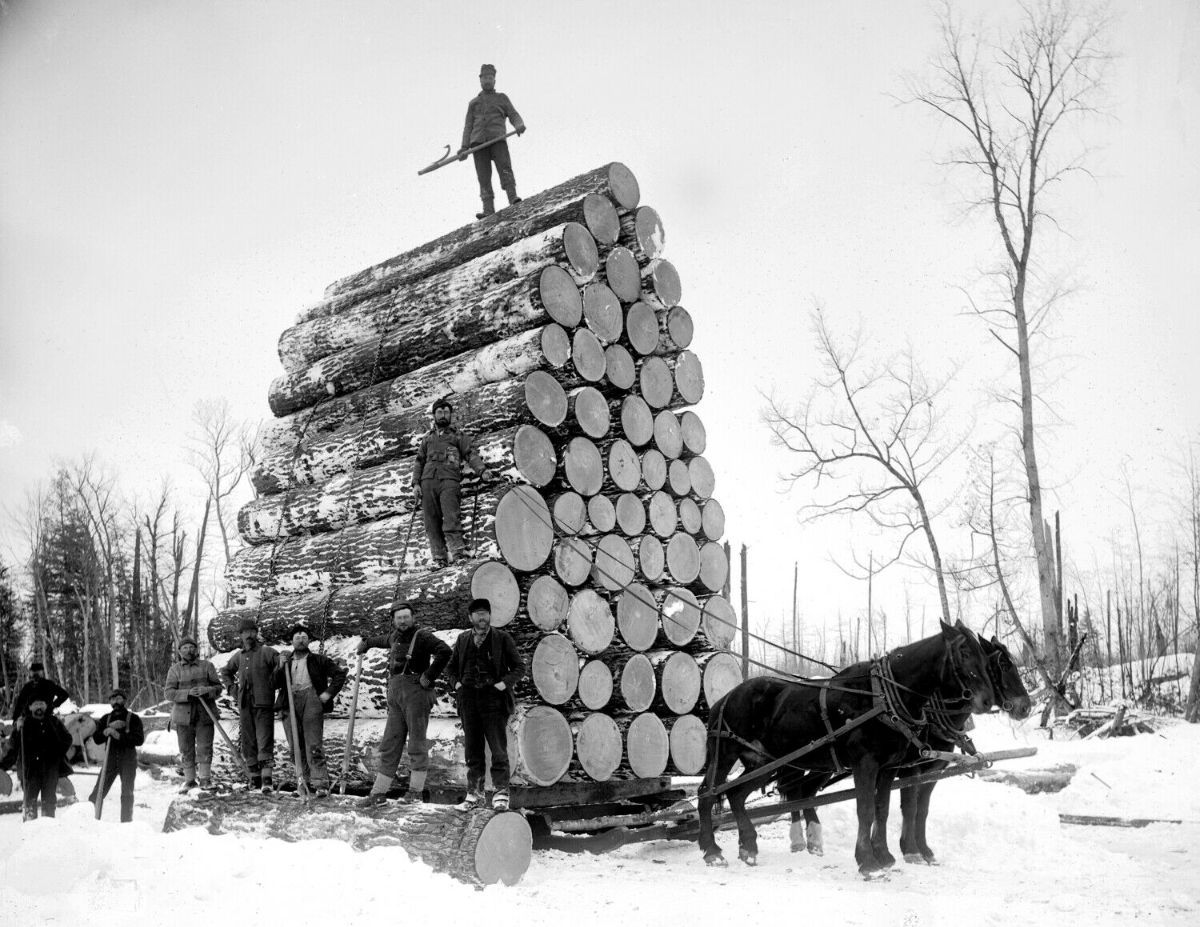 Michigan Loggers Pose Alongside Their World Record Haul, a Load of More Than 36,000 Board-Feet of Lumber Destined for the 1893 Chicago World's Fair