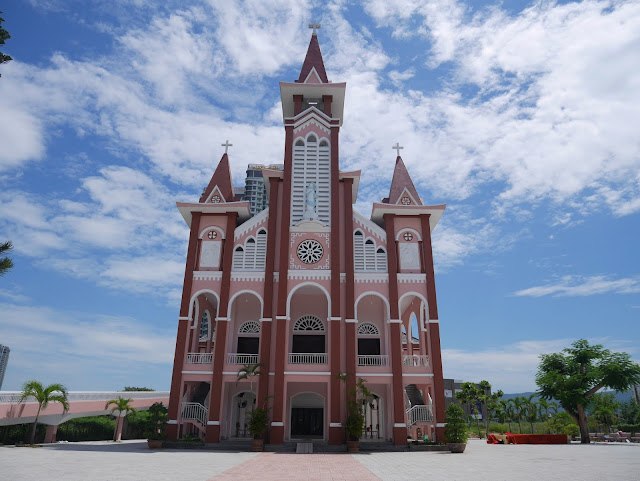 the other pink church in danang vietnam across the river
