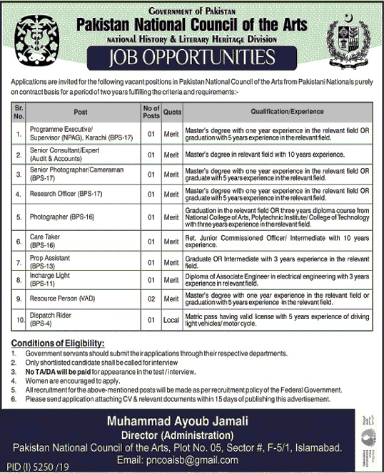 New Jobs in Pakistan National Council of the Arts PNCA