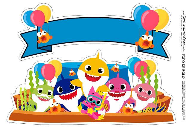 Fiesta de Baby Shark: Toppers para Tartas, Bizcochos o Pasteles para Imprimir Gratis.