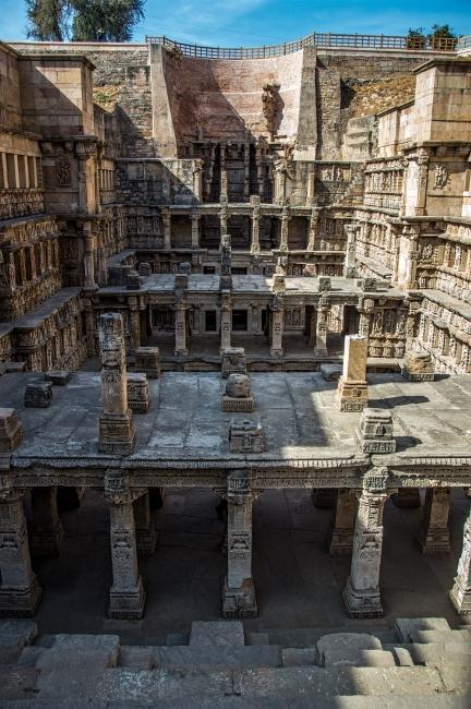 The Partially damaged floors of seven stories Rani ka Vav