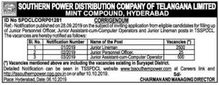 TSSPDCL 2440 Junior Lineman JLM Govt Jobs Recruitment 2018-19 Apply Online
