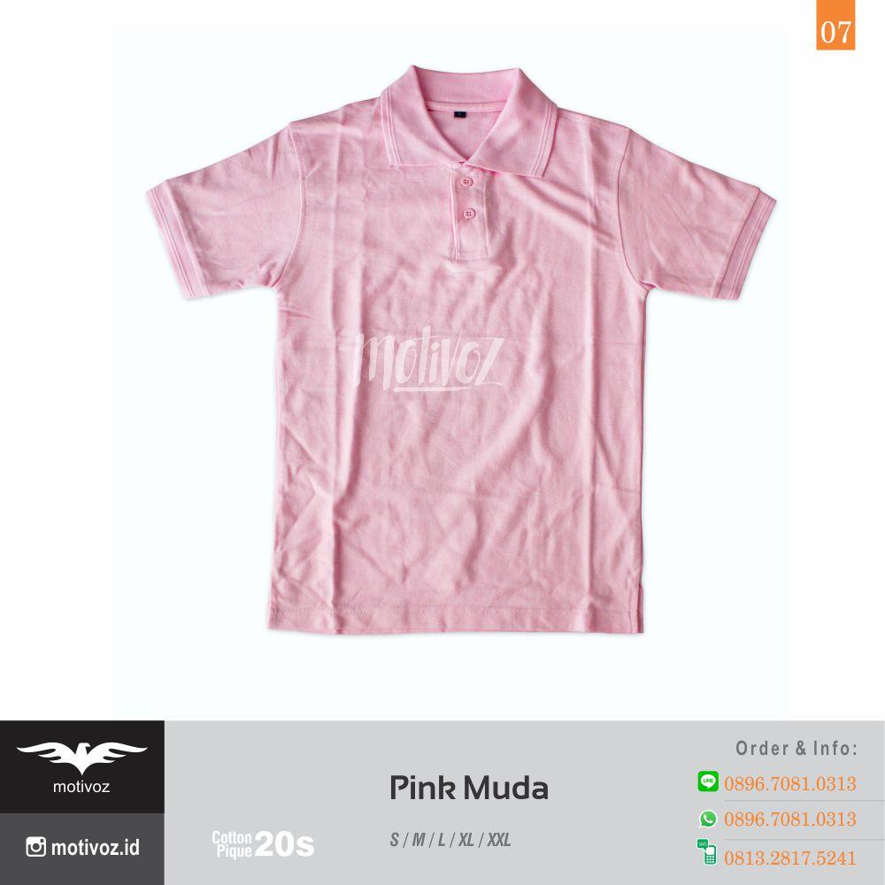 Katalog 17 Warna Kaos Polo Bahan Cotton Pique Berkualitas Motivoz Polos Basic 7 Pink Muda