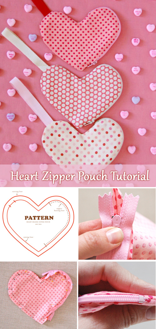 Heart-Shaped Zippered Pouches Tutorial