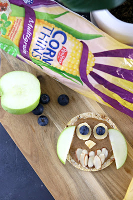 Owl Rice Cake - Healthy Halloween Snack Recipes - Healthy, gluten free, lunchbox ideas, healthy rice cake topping ideas, kids birthday party ideas