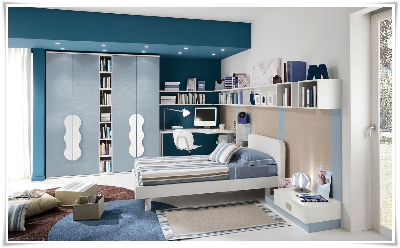desain kamar tidur anak remaja perempuan modern warna biru | sobat