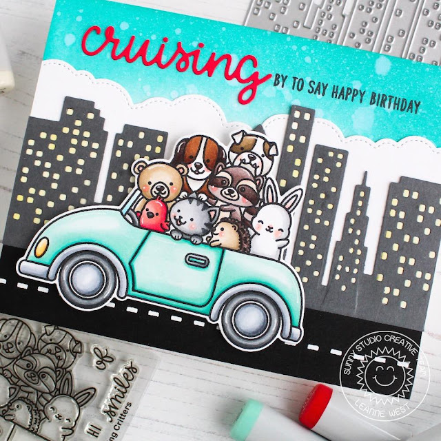 Sunny Studio Stamps: Cruising Critters Fluffy Clouds Border Cityscape Border Birthday Cards by Leanne West