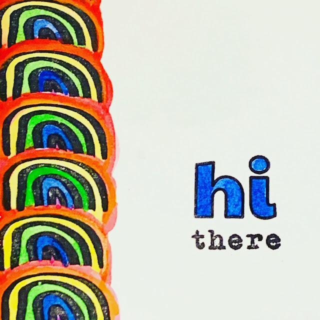 rainbow stamped handmade card design