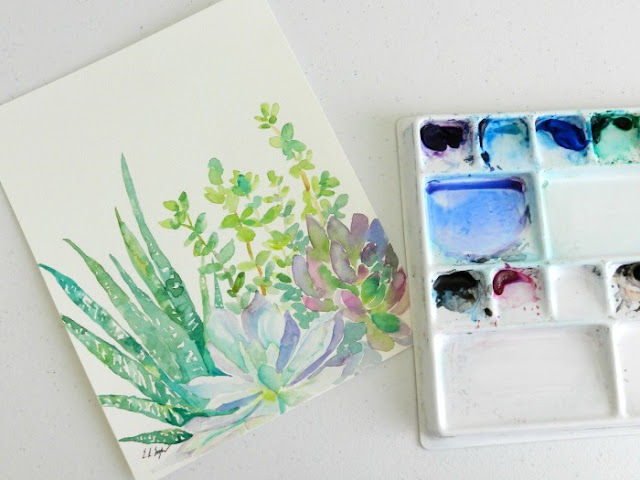 Watercolor cactus Painting by Elise Engh: grow creative blog