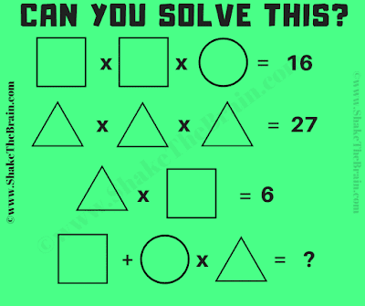 Your challenge in this math picture puzzle is to find the value of triangle, square and circle.