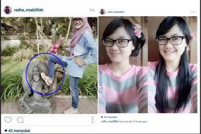 Setelah Beredar Foto Injak Patung Pahlawan Kini Beredar Foto Wanita Injak Patung Dewi Tara