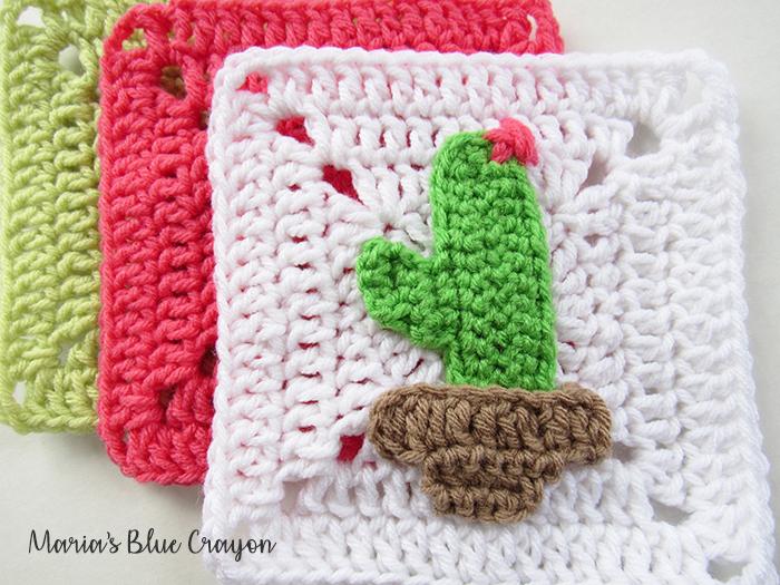 Crochet Cactus Granny Square Free Pattern Maria's Blue Crayon Inspiration Crochet Cactus Free Pattern