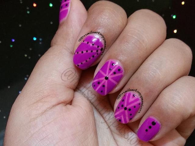 Pink Tribal Look Nails