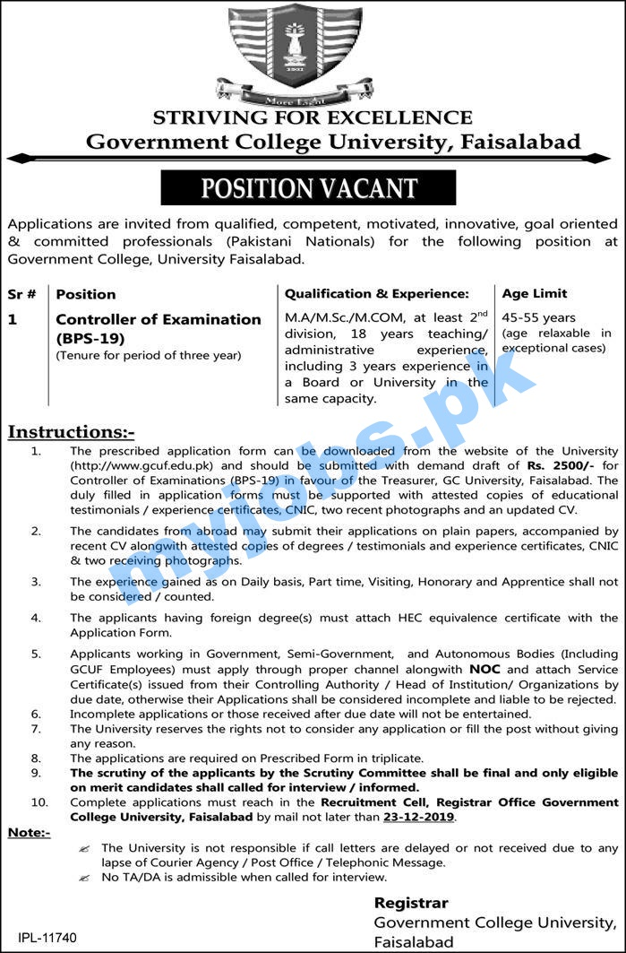 Government College University, Faisalabad I Position Vacant I Apply Now