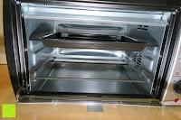 Blech oben: Andrew James – 23 Liter Mini Ofen und Grill mit 2 Kochplatten in Schwarz – 2900 Watt – 2 Jahre Garantie