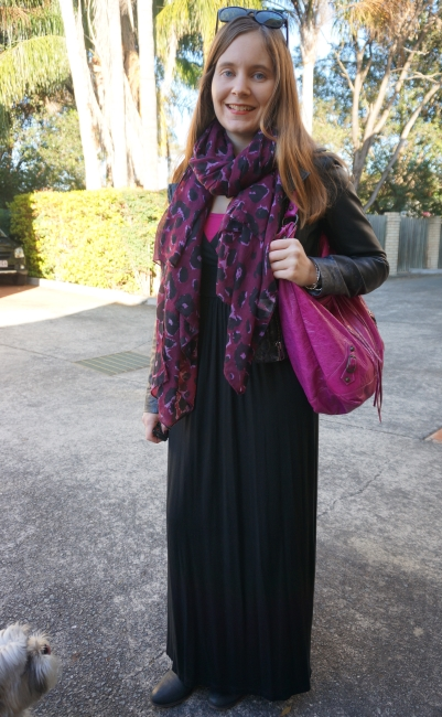 94b21f477c black halter maxi dress winter layers leather jacket