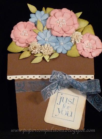 paper compulsions flower pot pocket card