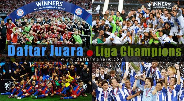 Daftar Klub Peraih Juara Liga Champions Tahun 1955 - Sekarang