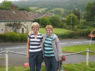 Two women in a rural setting in Devon, UK