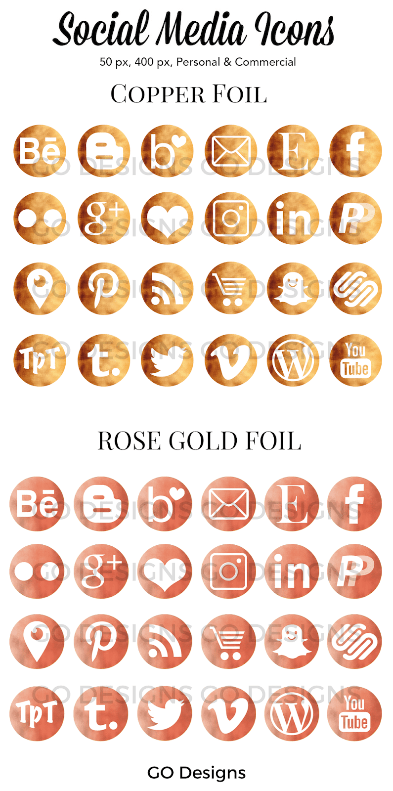 Copper Foil and Rose Gold Foil Social Media Icons by GO Designs (www.gradeonederfuldesigns.com)