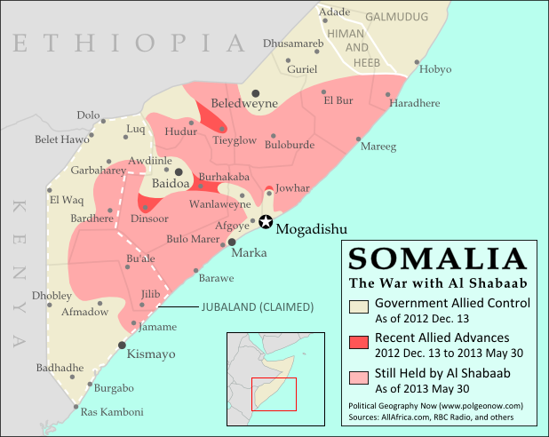 Map of Al Shabaab control in southern Somalia in May 2013, highlighting advances by government and African Union troops since December 2012. Also marks claimed territory of Jubaland state.