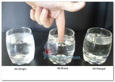 Percobaan merasakan suhu dari air di gelas