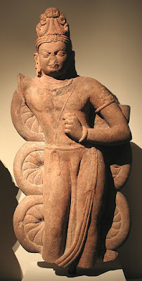 Standing sculpture of Balarama from the 5th century AD. His crown has a single rearing serpent, like the Egyptian Uraeus