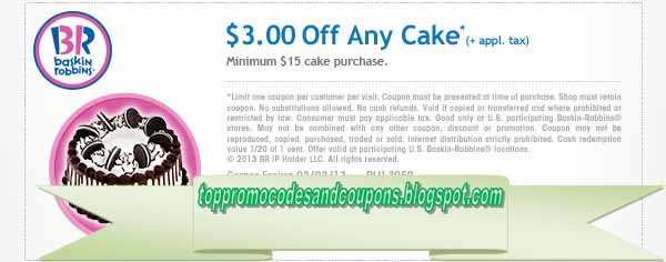 image about Baskin Robbins Printable Coupons referred to as Free of charge Promo Codes and Discount codes 2019: Baskin Robbins Discount coupons