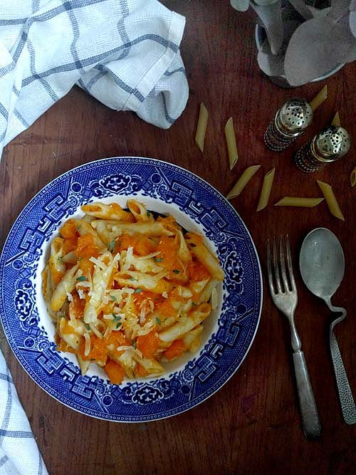 pasta e zucca, receta simple de fideos con calabaza