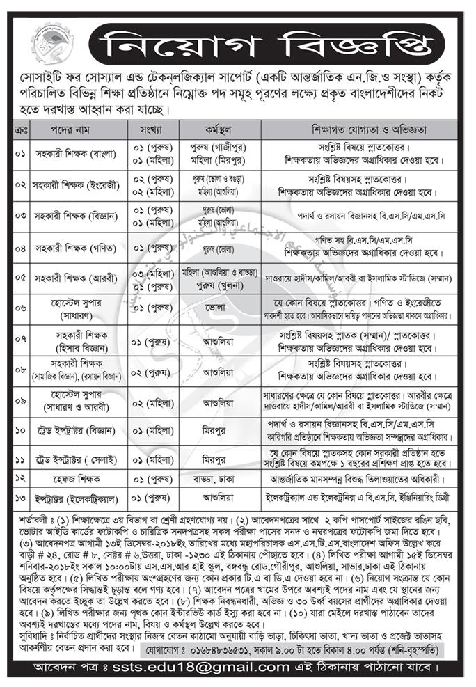 Society For Social & Technological Support (SSTS) Job Circular 2018