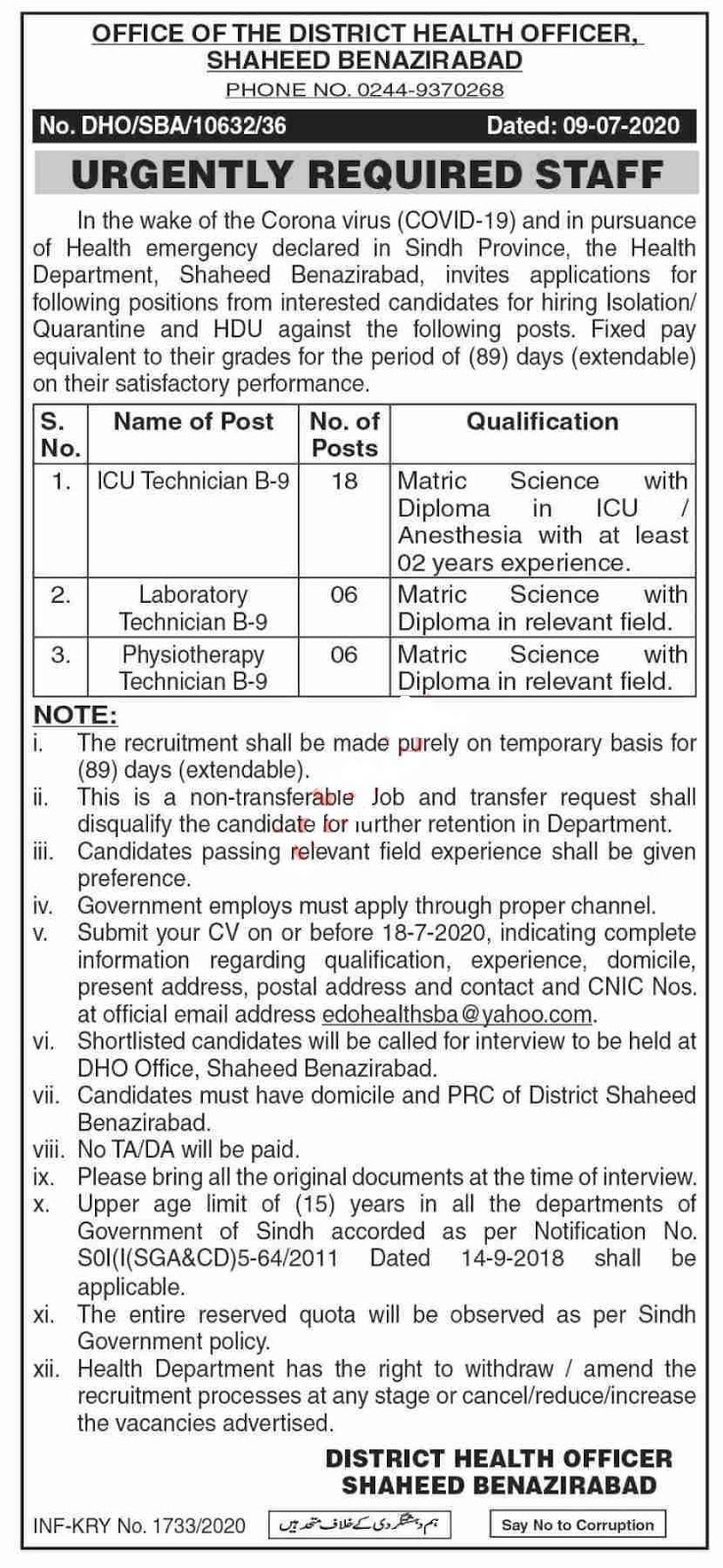 30 Jobs in Health Department of Sindh Jobs 2020 for ICU Technician, Technician, Laboratory Technician, Physiotherapy Technician