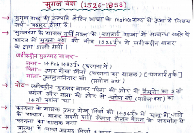Medieval India Handwritten Notes in Hindi