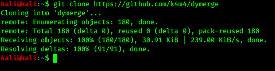 cloning Dymerge in Kali Linux